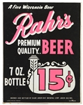 "1960s Rahrs Beer 11"" x 14"" Broadside"