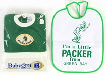 1960s-70s Green Bay Packers Youth Apparel - Lot of 2 w/ Sealed BabyGro Coveralls & Im A Little Packer Bib