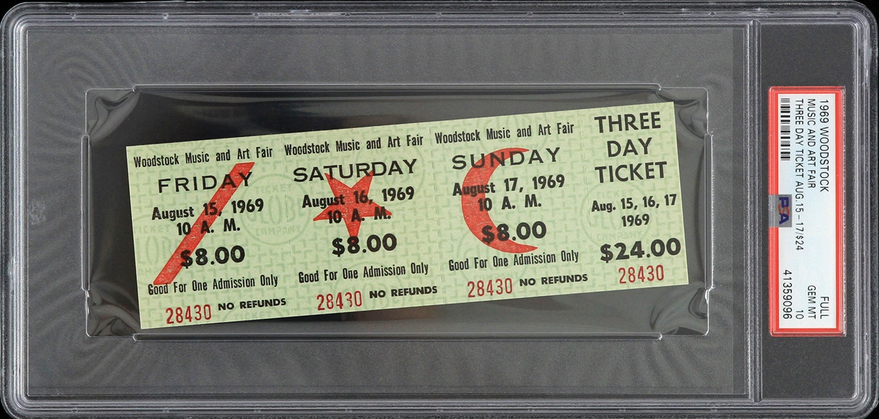 1969 Woodstock Music & Art Fair Three Day Full Ticket (PSA Gem MT 10)