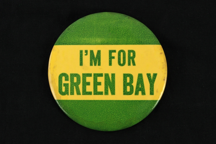 "1960s Green Bay Packers ""Im For Green Bay"" 3.5"" Pinback Button"