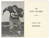 1960s Fuzzy Thurston Green Bay Packers Left Guard Steakhouse Menu