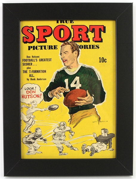 "1944 Don Hutson Green Bay Packers 9"" x 12"" Framed True Sport Picture Stories"