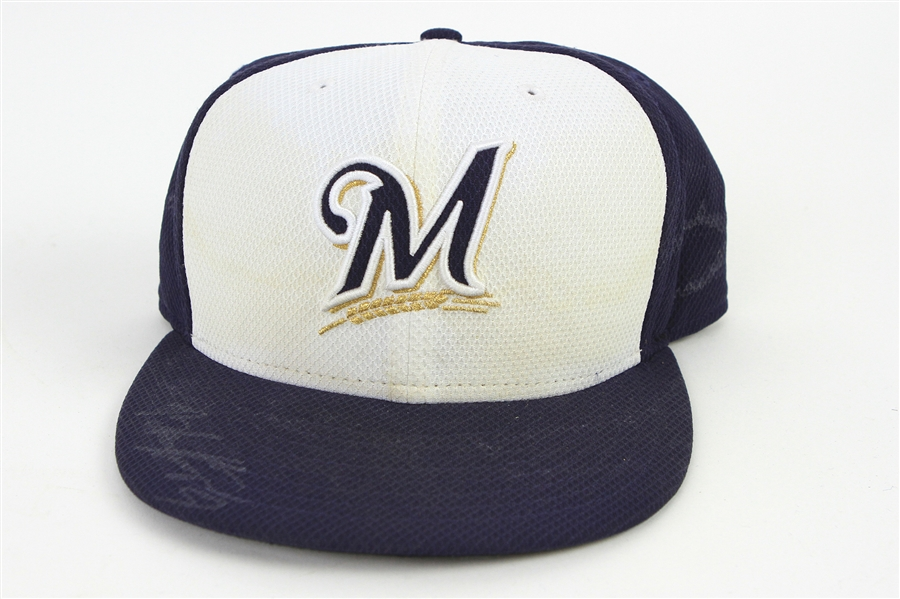 2014 Brandon Kintzler Milwaukee Brewers Signed Spring Training Game Worn Cap (MEARS LOA/MLB Hologram/JSA)