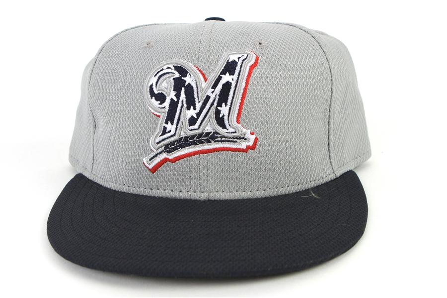 2013 (July 4) Wily Peralta Milwaukee Brewers Game Worn Cap (MEARS LOA/MLB Hologram)