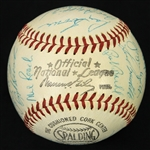 1960 Milwaukee Braves Team Signed ONL Giles Baseball w/ 28 Signatures Including Hank Aaron, Eddie Mathews, Del Crandall & More (PSA/DNA 8)