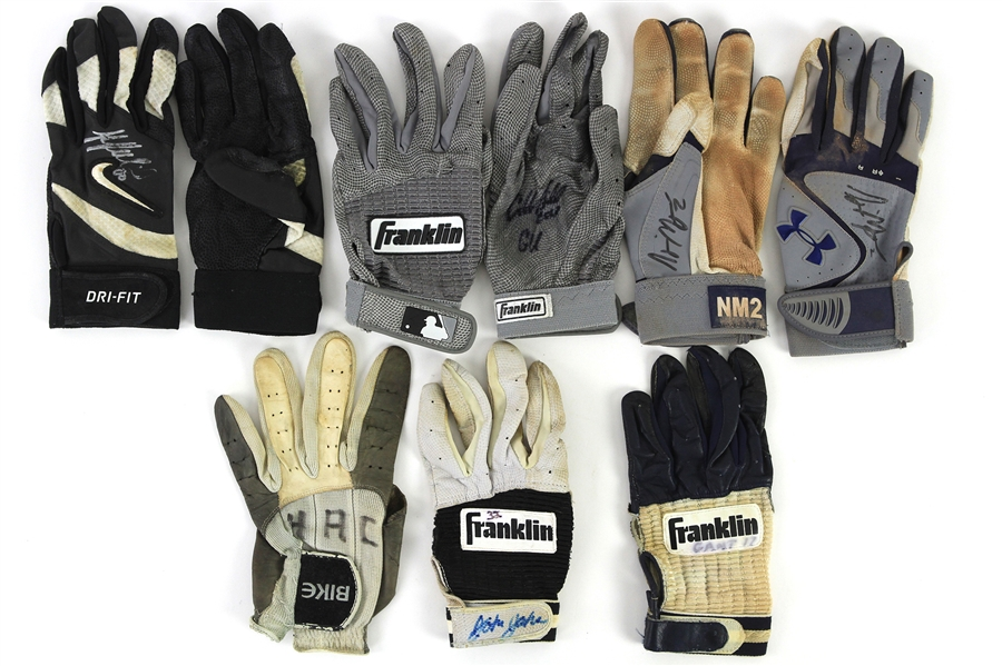 1980s-2000s Milwaukee Brewers Game Worn Batting Gloves - Lot of 9 (MEARS LOA/JSA)
