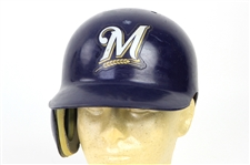2003 Valerio De Los Santos Milwaukee Brewers Signed Batting Helmet (MEARS LOA/MLB Hologram/JSA)