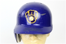 1990 Greg Brock Milwaukee Brewers Signed Game Worn Batting Helmet (MEARS LOA/JSA)