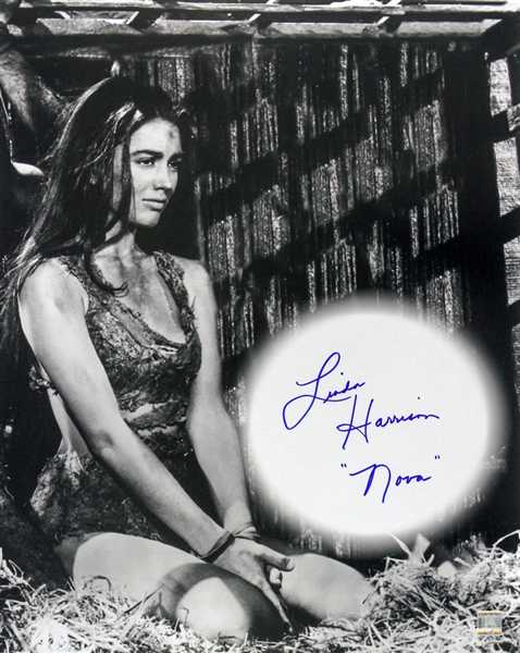 1968 Linda Harrison Planet of the Apes (pictured kneeling) Signed LE 16x20 B&W Photo (JSA)
