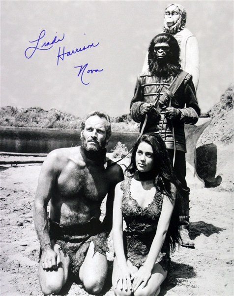 1968 Linda Harrison Planet of the Apes (pictured kneeling alongside Heston) Signed LE 16x20 B&W Photo (JSA)