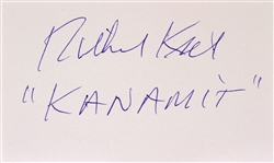 "1977/1979 Richard ""Jaws"" Kiel The Spy Who Loved Me/Moonraker (""Kanamit"") Signed LE 3x5 Index Card (JSA)"