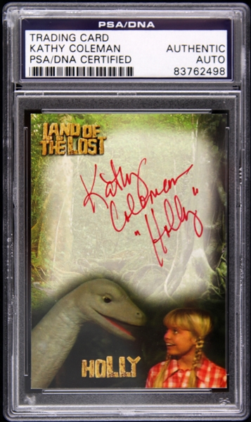 1974-1977 Land of the Lost Kathy Coleman (with dinosaur) Signed LE Trading Card (PSA/DNA Slabbed)