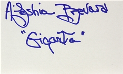 "1979 Aleshia Brevard Giganta ""Legend of the Superheroes"" Signed LE 3x5 Index Card (JSA)"