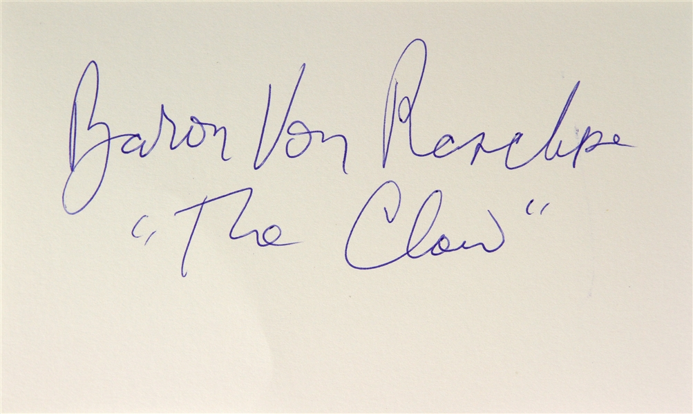 Baron Von Raschke AWA Wrestling Legend Signed LE 3x5 Index Card (JSA)