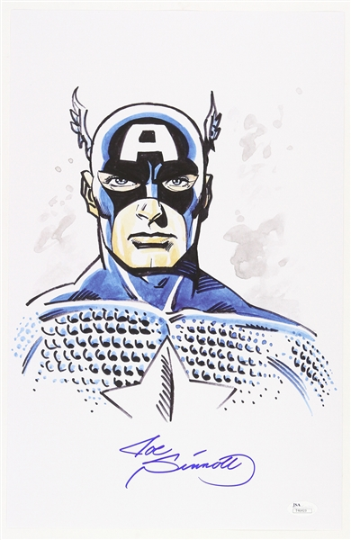 1990s Joe Sinnott Captain America Signed 11x17 Color Print (JSA)