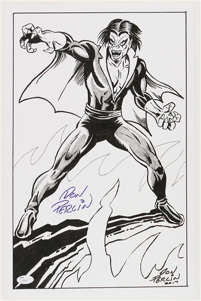 1990s circa Don Perlin Moribus The Living Vampire Ink Commission Sketch Signed 11x17 Print (JSA)