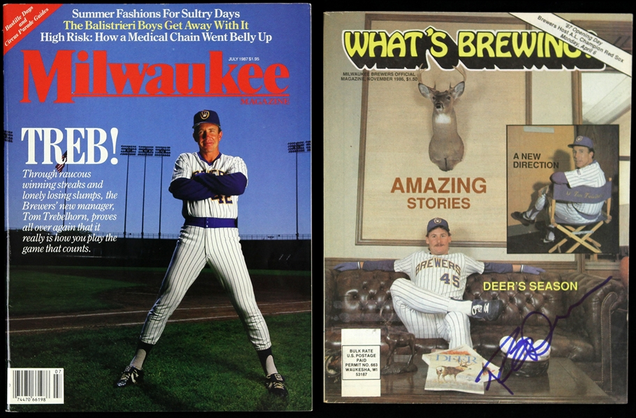"1986-1987 Rob Deer Milwaukee Brewers Signed ""Whats Brewing"" & Milwaukee Magazine (JSA)"