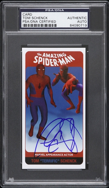 1970s Tom Schenck Spiderman Portrayal Autographed Appearance Card (PSA/DNA Slabbed)