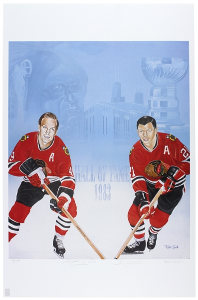 "1983 Bobby Hull & Stan Mikita Chicago Black Hawks ""Hall of Fame"" Signed 26""x 40"" Poster"