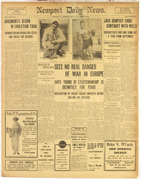 1925 Jack Dempsey Harry Wills World Heavyweight Title Bout Newport Daily News Newspaper