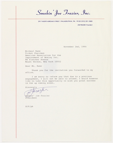 1990 Joe Frazier Heavyweight Champion Signed Letter (JSA)