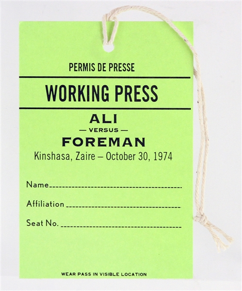 2001 Muhammad Ali George Foreman Press Pass Movie Prop From Ali Film (StarWares COA)