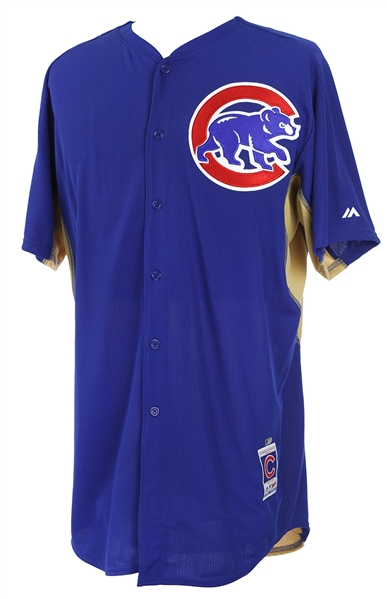 2015 Addison Russell Chicago Cubs Gold Batting Practice Jersey (MEARS LOA/MLB Hologram)