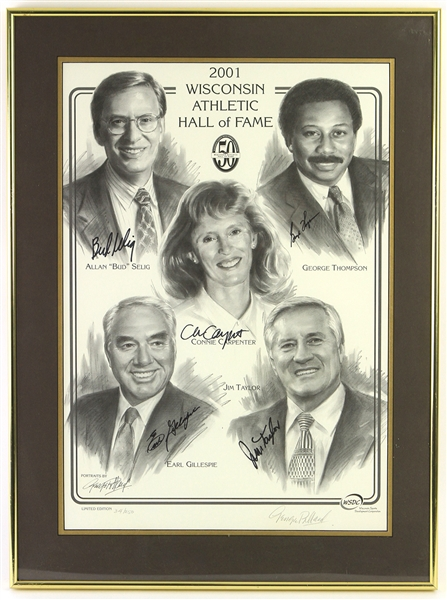 "2001 Wisconsin Athletic Hall of Fame Multi Signed 20"" x 27"" Framed Lithograph w/ 5 Signatures Including Jim Taylor, Bud Selig & More (JSA) 34/250"