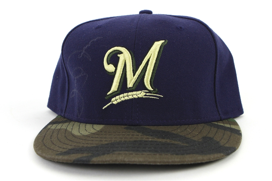 2011 Jerry Narron Milwaukee Brewers Signed Game Worn Camouflage Cap (MEARS LOA/MLB Hologram/JSA)