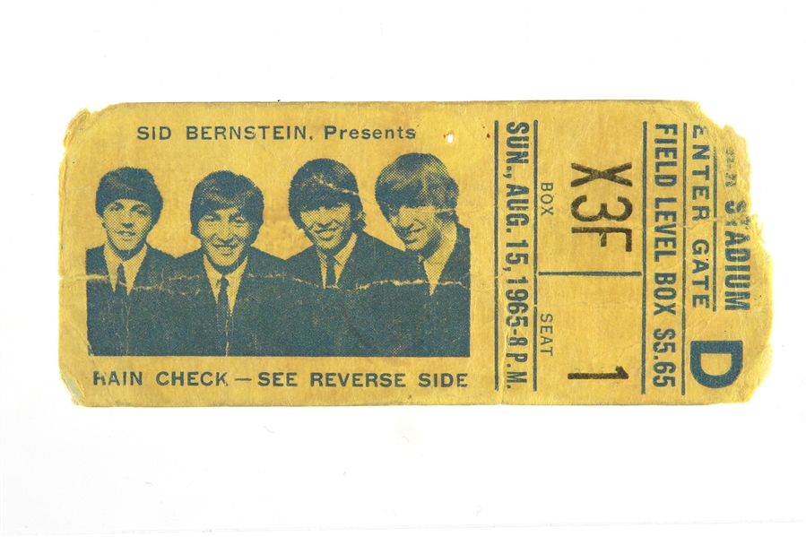1965 (August 15) The Beatles Shea Stadium Concert Ticket Stub