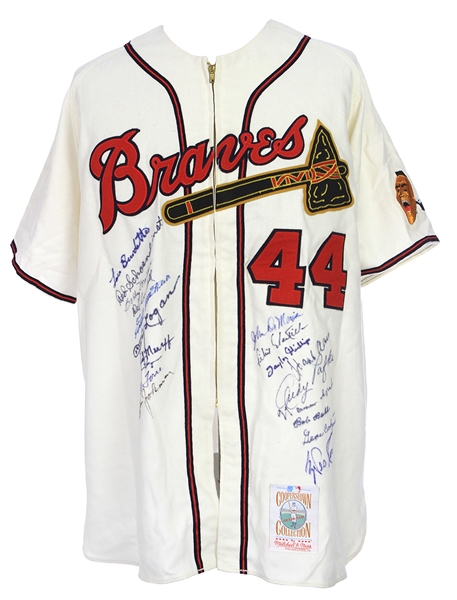 1957 Milwaukee Braves Multi Signed Hank Aaron Mitchell & Ness Throwback Jersey w/ 19 Signatures Including Aaron, Eddie Mathews, Warren Spahn & More (PSA/DNA)
