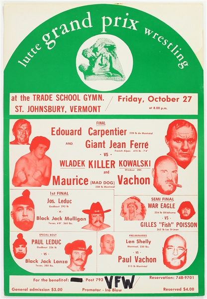 "1972 Andre The Giant Killer Kowalski Black Jack Mulligan 15"" x 22"" Lutte Grand Prix Wrestling Broadside (Giant Jean Ferre)"