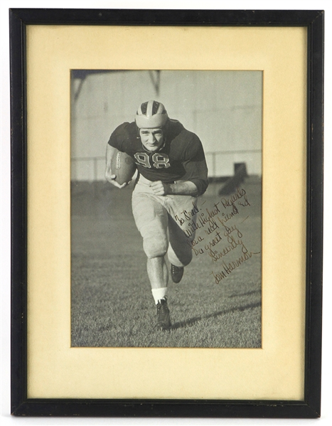 "1940 Tom Harmon Michigan Wolverines Signed & Inscribed 9.5"" x 12.5"" Framed Photo (JSA)"