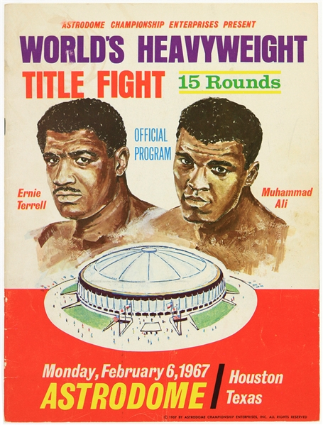 1967 (February 6) Muhammad Ali Ernie Terrell Houston Astrodome Heavyweight Title Fight Program