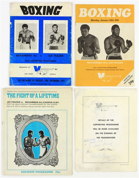 1971-75 Muhammad Ali Joe Frazier World Heavyweight Champion Closed Circuit Fight Programs - Lot of 3