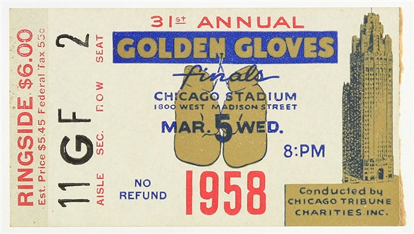 1958 (March 5) Cassius Clay Muhammad Ali Chicago Stadium Golden Gloves Finals Ticket Stub
