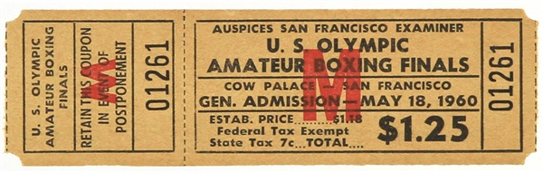 1960 (May 18) Cassius Clay Muhammad Ali Cow Palace US Olympic Amateur Boxing Finals Ticket