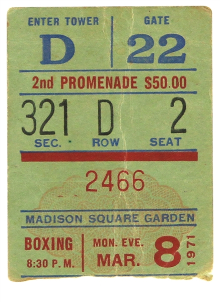 1971 (March 8) Muhammad Ali Joe Frazier Madison Square Garden Heavyweight Title Fight Ticket Stub