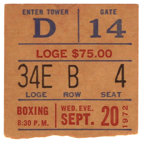 1972 (September 20) Muhammad Ali Floyd Patterson Madison Square Garden Heavyweight Title Fight Ticket Stub w/ Price Sheet