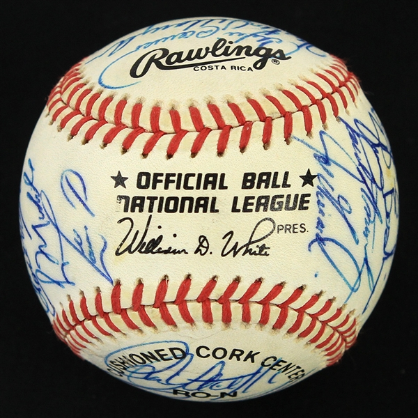 1991 Chicago Cubs Team Signed ONL White Baseball w/ 28 Signatures Including Greg Maddux, Ryne Sandberg, Andre Dawson & More (JSA)