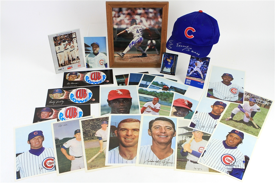 "1960s-2000s Chicago Cubs White Sox Memorabilia Collection - Lot of 26 w/ Ernie Banks Signed Cap, 6"" x 9"" Player Photos, Cub Power Bumper Stickers & More"