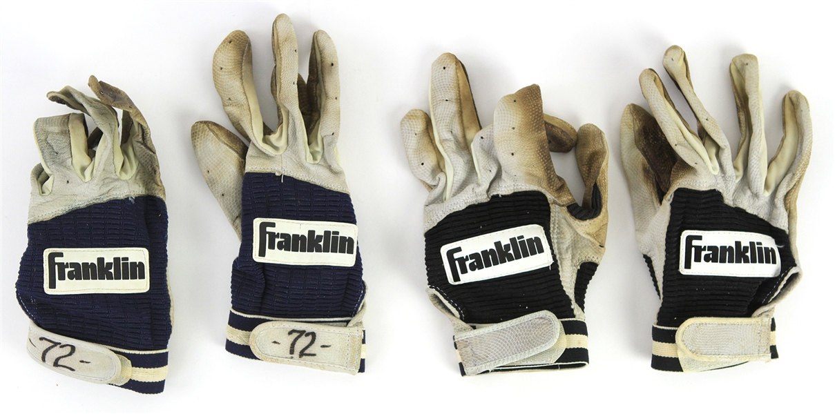 1980s-90s Carlton Fisk Chicago White Sox Game Worn Franklin Batting Gloves - Lot of 2 Pair (MEARS LOA)