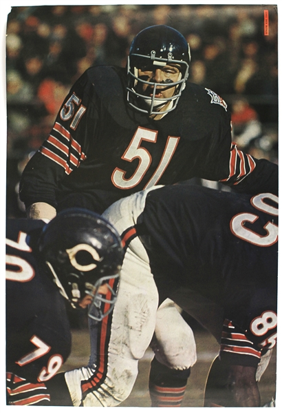 1968-2017 Dick Butkus Chicago Bears & Chicago Cubs Family Day Baseball Card Posters - Lot of 5 w/ Lee Smith Signature (JSA)