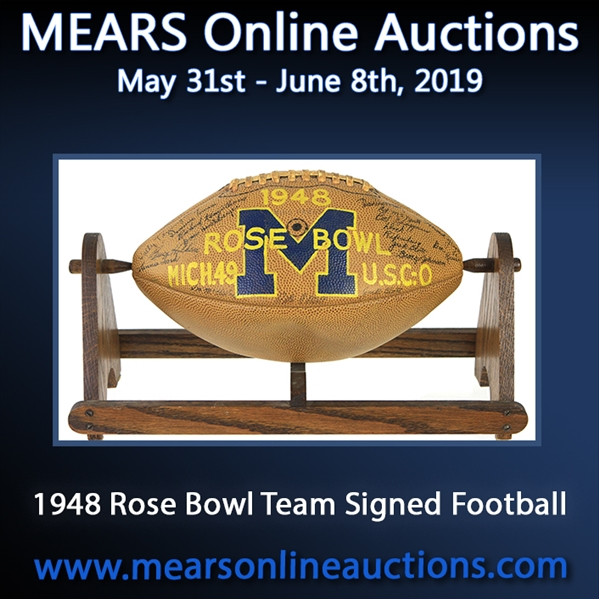 1948 Michigan Wolverines Team Signed Rawlings Rose Bowl Painted Football (JSA Full Letter)