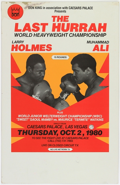 "1980 (October 2) Larry Holmes Muhammad Ali Heavyweight Title Fight 14"" x 21.5"" Broadside"