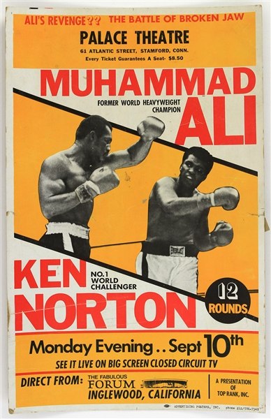 "1973 (September 10) Muhammad Ali Ken Norton Heavyweight Title Fight 14"" x 22"" Closed Circuit Broadside"