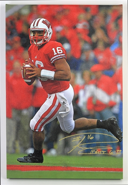 "2011 Russell Wilson Wisconsin Badgers Signed 16"" x 24"" Canvas Print (JSA)"