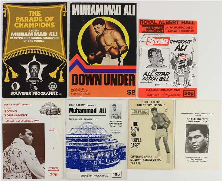 1972-88 Muhammad Ali World Heavyweight Champion Exhibition Programs - Lot of 7