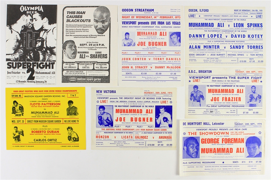 1971-78 Muhammad Ali World Heavyweight Champion Handbill Collection - Lot of 14