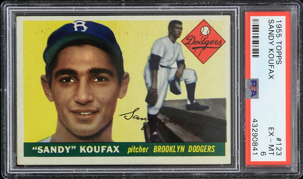 1955 Sandy Koufax Brooklyn Dodgers Topps #123 Rookie Trading Card (PSA EX-MT 6)